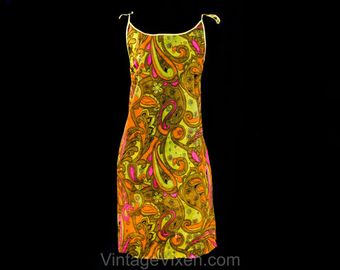 Size 10 Paper Dress - 1960s Disposable Clothing - 60s Go Go Girl Style Paisley Print - Pink Orange Yellow See Through Non Woven - Deadstock