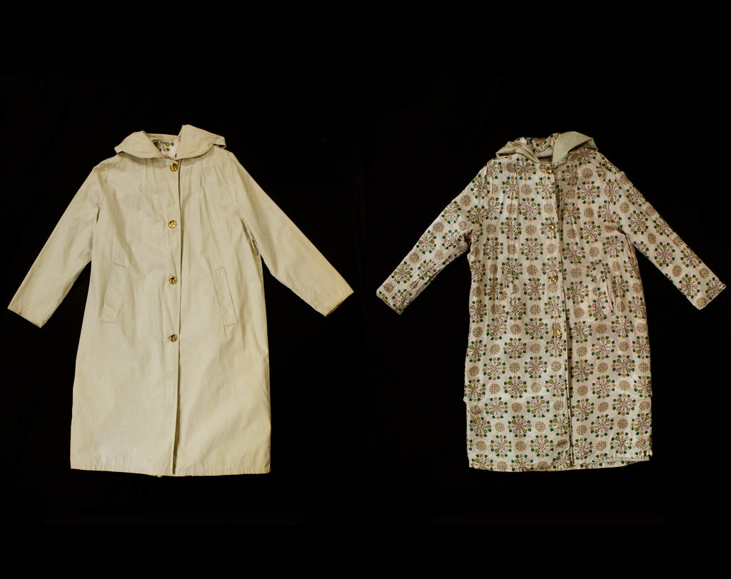 Girl's 1960s Raincoat - Reversible Child's Coat with Hood - 60s Preppy Khaki Tan Cotton & Medallion Print - Spring Rain Duster - Chest 39