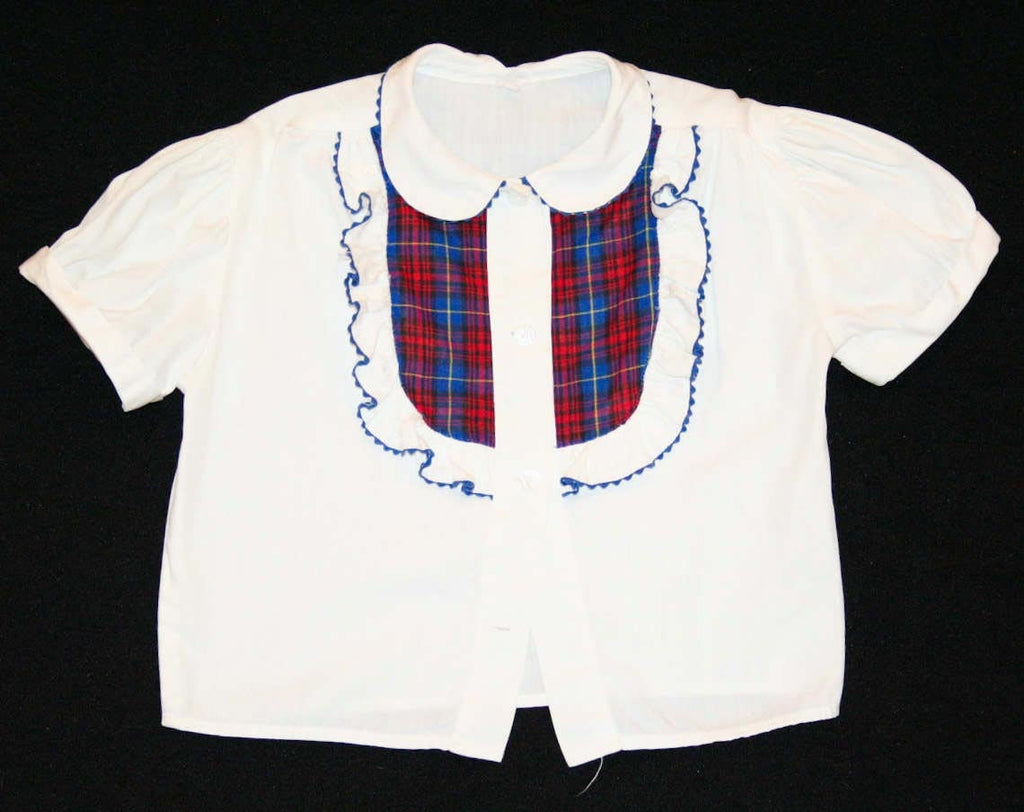 FINAL SALE Girls 1950s White Shirt - Size 3T - Blue & Red Plaid Trim - Short Sleeved 50s Girl's Top - Summer - Childrens - Rick Rack Ruffles