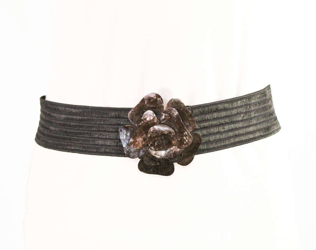"Large Stretch Belt - Retro 1990s Black Rose Plastic Buckle & Belt - 90s Boho Metallic Brown Crackle Finish - 2"" Tall - Waist 28 to 32"