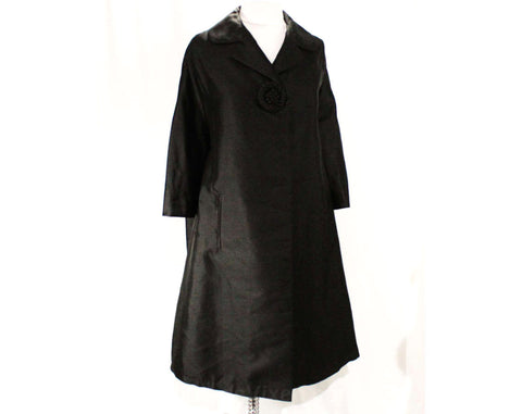 XXL Black Coat - Couture Style 1960s Trapeze Line Coat - Gorgeous Silk with Short Sleeves & Waist Pockets - Plus Size 26 - Bust 56