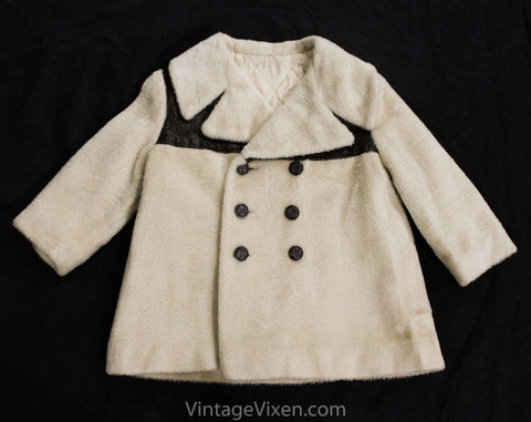 Size 2T 1960s Coat - Motown Toddler Overcoat - 60s Mod Double Breasted Faux Fur Jacket - Boys or Girls - Hipster Beige & Brown - Chest 24