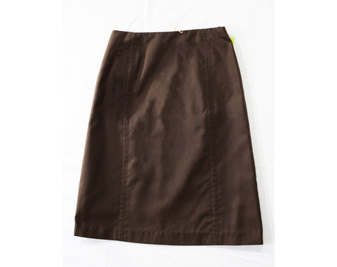 Size 8 Brown Skirt - 1960s Chocolate Cotton Canvas Casual A-Line Skirt - Classic 60s 70s Bobbie Brooks Deadstock - Waist 26.5 - NWT NOS