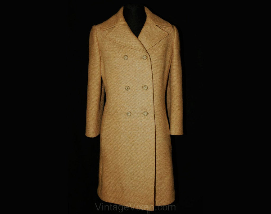 Size 10 Beige Coat - Chic 1960s Wheat Tweed Car Coat - Mod - Tailored Classic 60s Double-Breasted Overcoat - Fall - Bust 38 - 33686-1