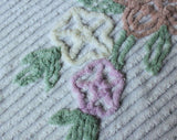 Floral Chenille Bedspread - 1950s Soft Classic Cottage Bedroom Linens - Plush Cotton - 50s Twin Full or Double Bed Cover - 92 x 105 Inches