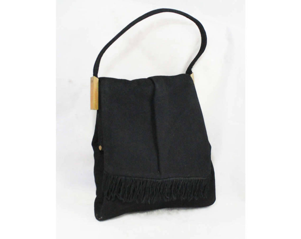 1940s Avant Garde Black Handbag - Modernist 40s Asymmetric Purse with Fringed Flap - 40's Winter Bag with Film Noir Style - Lewis Label