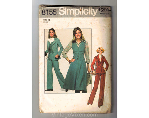 1977 Pant Suit Sewing Pattern - 70s Misses Jacket Vest Skirt & Pants Trousers - Bust 34 Simplicity 8155 1970s Women's Lib Separates