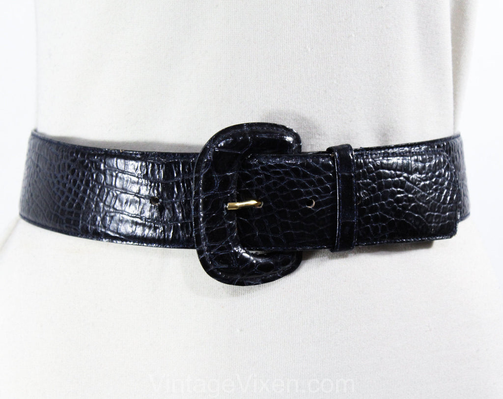1990s Navy Blue Belt - Size 6 to 10 Faux Alligator Reptile Snakeskin Pattern - Small Medium 80s 90s Vegan Snake Skin - Waist 26 to 29.5