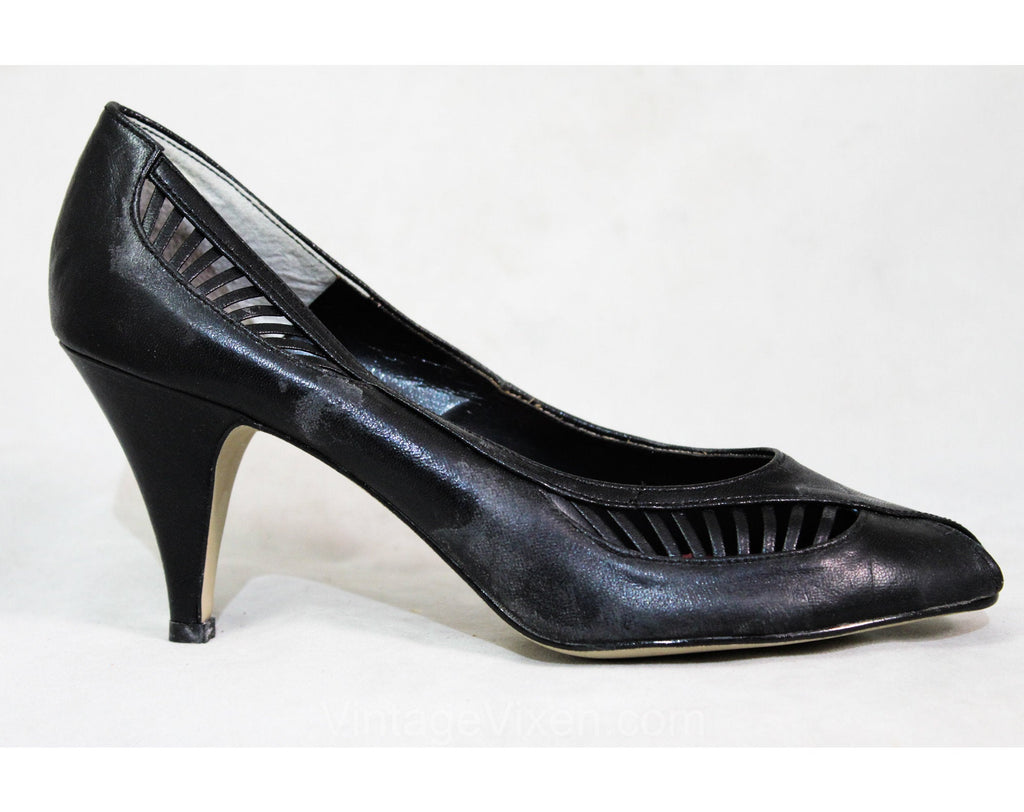 As Is Size 7 Shoes - Sexy 1980s Black Asymmetric Peep Toe Heels - Cutout Leather Stripes - 3 Inch Date Night Heels - Unworn 80s Deadstock