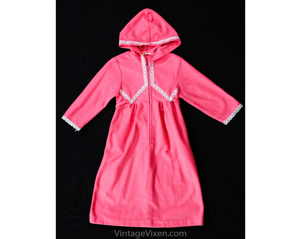 Girl's Pink Velour Robe with Hood - Size 3T 4T Girls House Coat - 1970s Children's Winter Spring Zip Front Lounge Dress - Hooded - Chest 23
