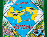 1950s Panama Souvenir Scarf - Tourist Map Central America - As Is 50s 60s Rayon Novelty Print - Glitter Applied Scenes - Red Blue Green
