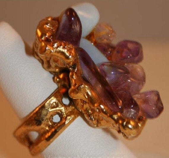 Huge 60s Statement Ring - Fab Artisan 1960s Rock Tumbler Ring with Amethyst & Moonstones - Size 7.5 - Purple - Artisan - NWT - 32102