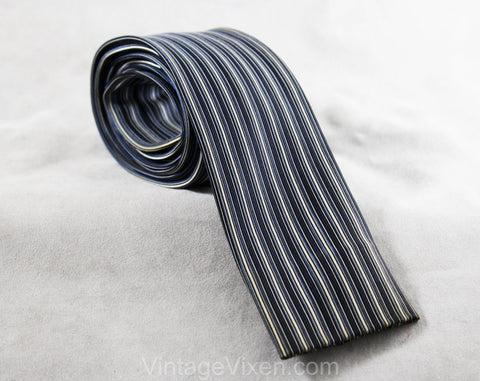 Rockabilly Men's Skinny Tie - Blue Striped Square End Necktie - 1950s 60s Denim Blue & White Woven Satin Pinstripes - Vertical Pin Stripes