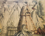 Framed Victorian Fashion Plate - Godey's Ladies Book Hand Colored Picture with Gilt Wood Frame Dated 1867 - Authentic 1860s Not Reproduction