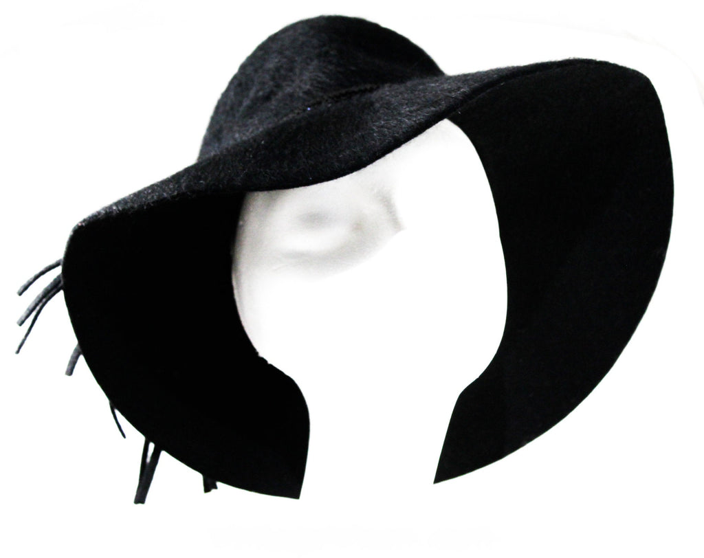 Black 60s Floppy Hat - Wide Brim Furry Felt with Sequin Trim - Dramatic 1960s Mohair Velour Millinery with Street Chic Style - Fall Winter