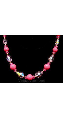Pretty in Pink 1950s Cut Glass & Beads Necklace - Spring - Pink - 50s - Day To Evening - Aurora Borealis - Rhinestones - Glamour - 38417-1