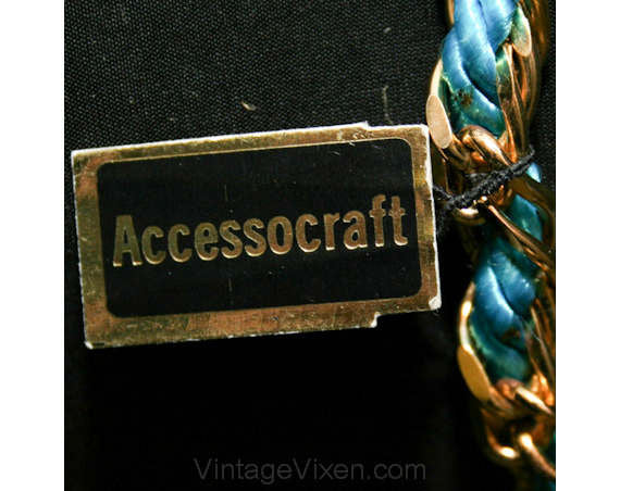 60s Turquoise Belt - Beautiful Teal Blue Cord Gold Chain Belt - Any Size - Summer Woven & Brass 1960s Accessocraft with Hangtag - 39388