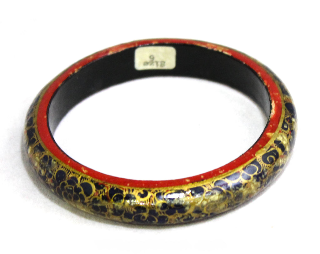Asian Bangle Bracelet - Hand Painted Dragon Scales Flowers - Faux Cloisonne - Navy Gray Red Gold Brilliant Artisan Skills - Eastern - 50445