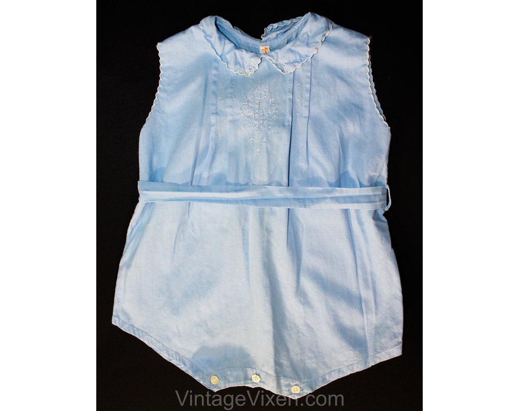 Charming 1920s Toddlers Blue Cotton One Piece Romper with Heirloom Embroidery - Size 12 to 18 Months - Infant Child's Pastel Bubble Suit