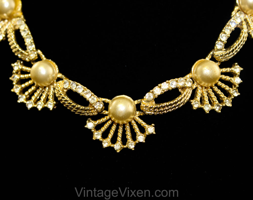 Antique Style Seashell & Pearl Necklace - Victorian Revival 1950s 1960s Goldtone and Rhinestones - Mermaid Aquatic Queen of the Sea