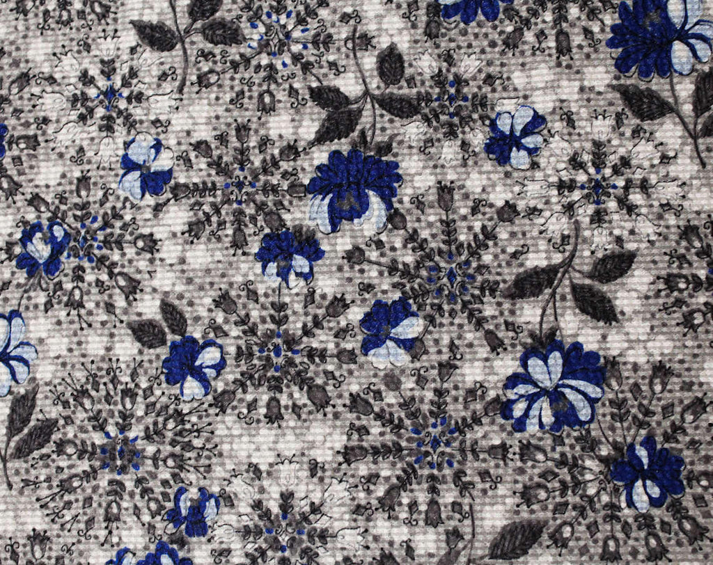 40s Floral Nylon Fabric - 3 1/2 Yards x 45 Inches - 1940s Sheer Seersucker with Starburst Snowflake Flowers - Blue Gray White Dress Yardage