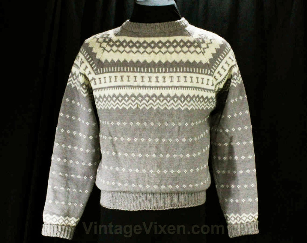Men's Medium Ski Sweater - 1950s Mens Pullover - Gray & Ivory Fair Isle Wool - 50s Artisan Made Knit - Germany European Label - Chest 44