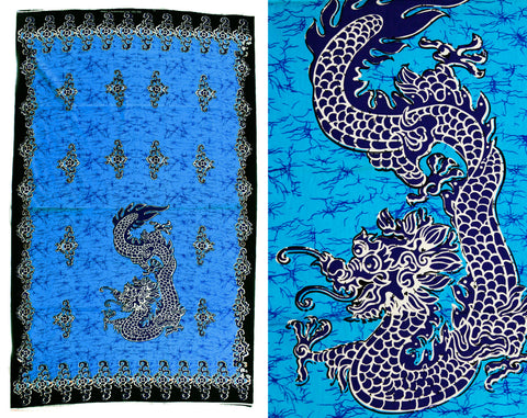 1960s Cotton Dragon Batik Print Fabric - 1.8 Yards Turquoise Blue & Black Panel Yardage - 60s 70s Summer Bohemian Border Print Sarong Wrap