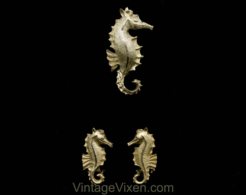 1950s Seahorse Pin - Sea Horse Brooch & Earrings - Gold Hue Metal - Aquatic Ocean Novelty Animal Theme - 50s 60s Goldtone - 50585