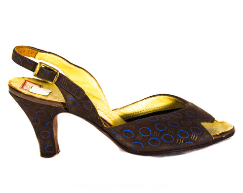 Size 4 Art Deco Shoes - Unworn 1940s Brown & Blue Low Heels with Metallic Gold Print - 40s Small Size Pumps - Two-Tone Leather - Deadstock