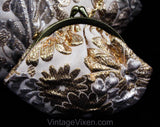 50s Marilyn Evening Bag - Gold & Silver Metallic 1950s 1960s Purse - Flashy Metal Brocade with Single Strap - Formal Handbag with Coin Purse