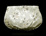 Femme 50s Starflower Beaded Satin Bag - Formal 1950s Clutch Purse - Spring Handbag - Shabby Sweet Daisy Flower Metalwork - Envelope Flap
