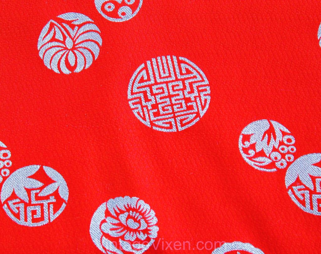 40s Asian Dress Fabric - 4.8 Yards x 28 Inches - Salmon Pink & Ice Blue Crepe Brocade - 1940s Cold Rayon Yardage - Far East Satin Medallions
