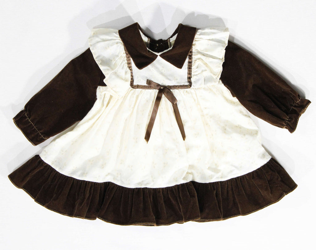 Prairie Baby's Dress - Size 9 to 12 Months - 1970s Retro Brown Velveteen Hippie Pinafore Style Frock with Faux Eyelet Cotton - Little House