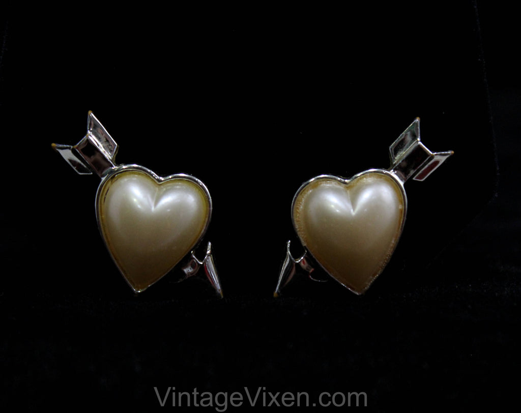 50s Sweetheart Earrings - Hearts & Arrows - Puffy Cream Hearts with Gold Hue Metal - Cupid's Arrow Valentine's Day Plastic Heart - 50496