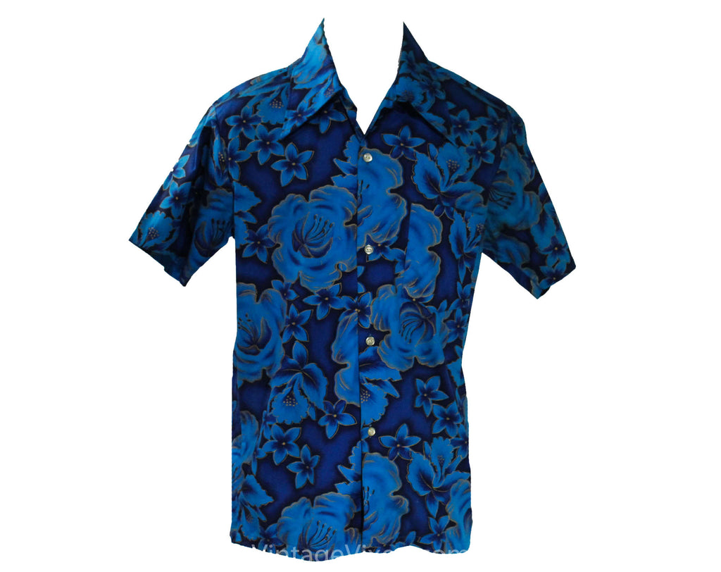 Men's Small Hawaiian Style Shirt - 50s Turquoise Blue & Metallic Gold Hibiscus Print - Short Sleeve Summer 1950s California Label - Chest 38