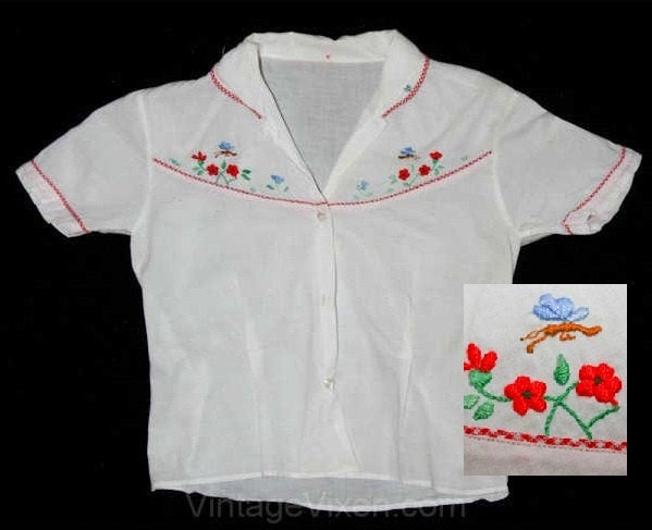Girls 1950s Shirt - Butterfly Embroidery - Size 5 or 5T - Short Sleeved 50s Girl's Summer Childrens Top - Bugs & Flowers - Chest 27 - 39810