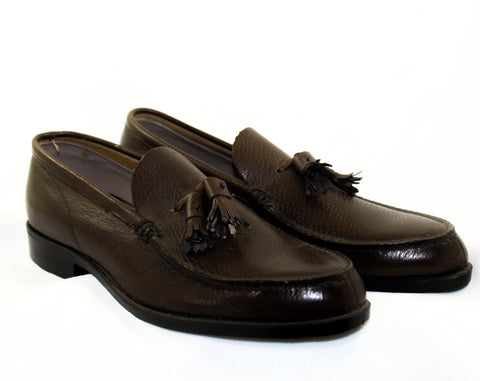 Men's Size 5 1/2 Shoes - 1950s Brown Leather Mens Loafers with Classic Tassels - Preppy 50s 60s - 5.5 - NOS Original Box 50s Deadstock
