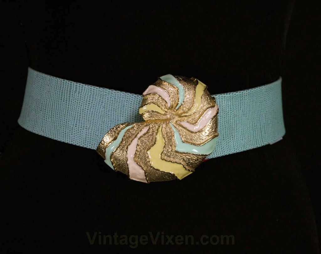 Beachy Sky Blue Belt with Seashell Buckle - Size 10 to 12 Summer Pastel Belt - 1980s Designer Mimi di N Dated 1986 - Resort Chic - Medium