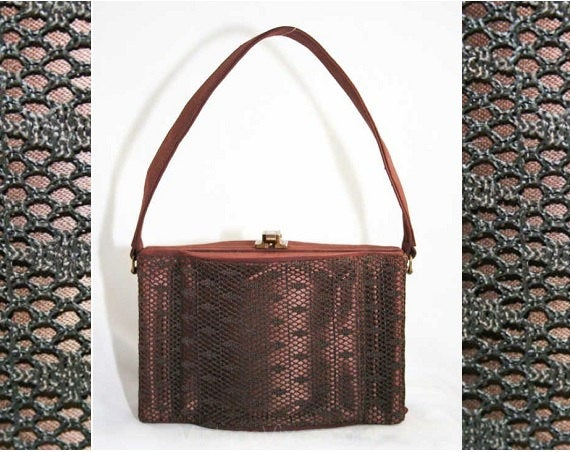 Authentic 1930s Purse - Art Deco 30s Nutmeg Brown Fish Net Box Bag - 30s Fishnet Handbag - Fall Autumn Color - Elegant Rare 30's Deadstock