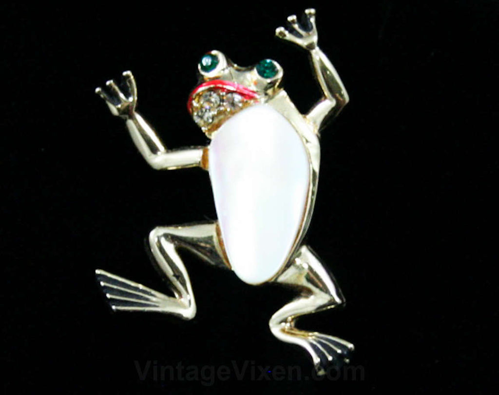 Funny Frog 1960s Pin - Cute Novelty 60s Brooch - Amphibian Animal - Lapel Pin - Green Eyes - Rhinestones - Hand Painted - Froggy - 42525