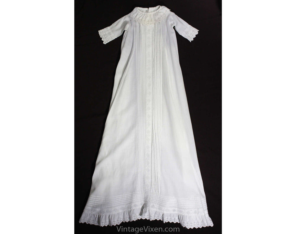 Antique Baby's Christening Gown - Size 0 to 3 Months - 1900s Victorian White Cotton Heirloom Dress - Tucks & Hand Embroidery - Very Long