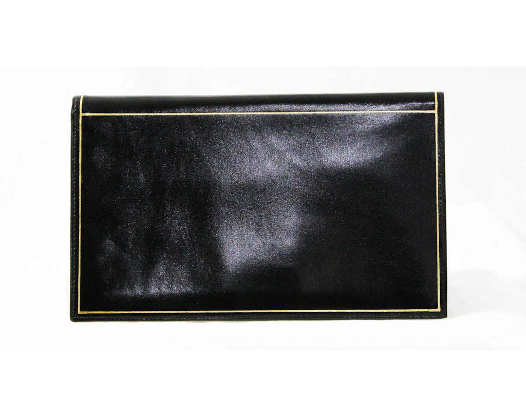 1940s Fine Black Wallet - Exquisite Italian Leather with Gold Pinstripe Border - Made in Italy - 40s 50s Deadstock - Beautiful Gift Idea