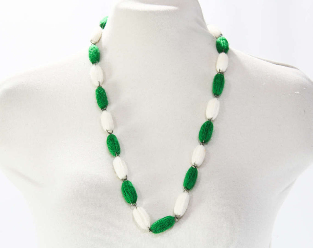 1960s Yarn Necklace - Emerald Green & White Acrylic Yarn Beads - Cute and Crafty 60s Handmade Jewelry - Kitsch 60's 70's Design