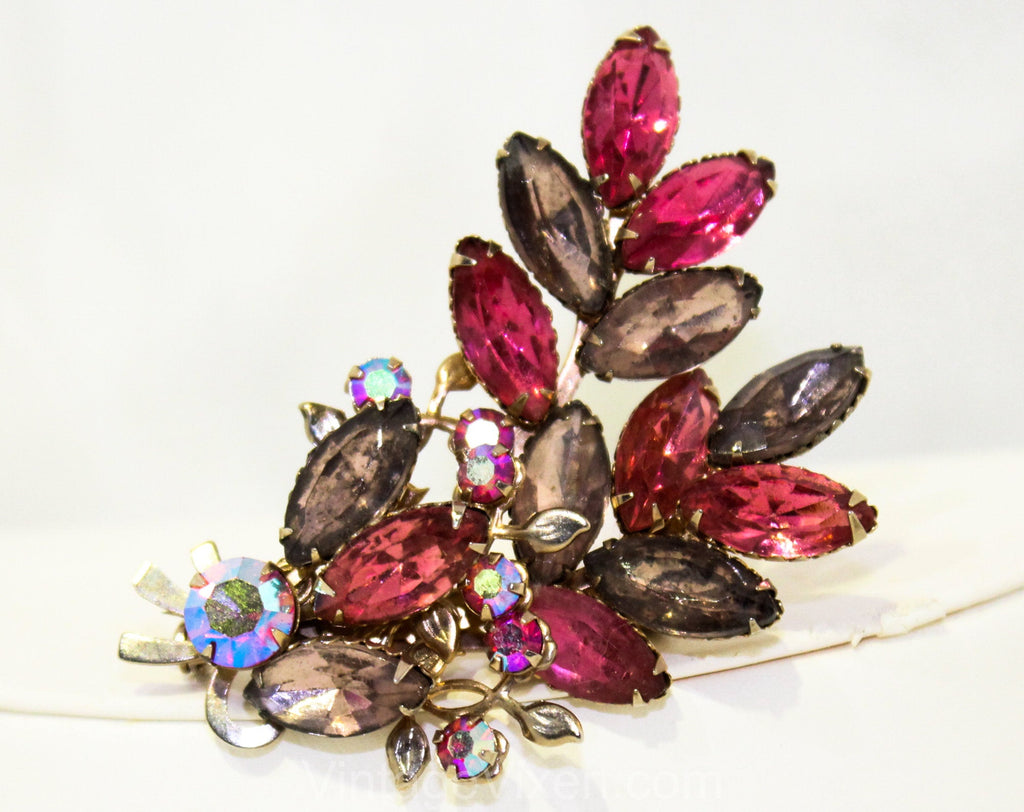 1950s Pink & Purple Rhinestone Brooch - Elegant Leafy Spray Pastel Colors - Faceted Leaves Bouquet Pin - Beautiful 50s Aurora Borealis Glam