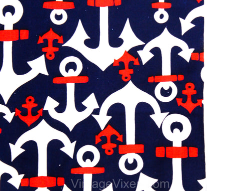 1960s Nautical Novelty Print Cotton Canvas Fabric - Over 2 Yards x 44 Inches - Red White & Navy Blue Anchors - 60s Summer Beach Party