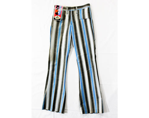 Girl's Size 12 Bellbottom Pants - Terrific 1960s 70s Blue Striped Juniors Bell Bottom Hip Huggers - Teen Trousers - Low Rise Hippie NOS