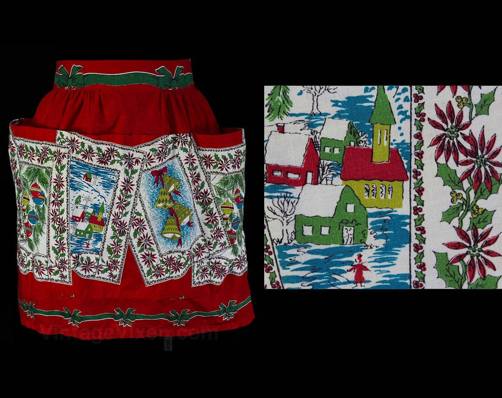 50s Christmas Apron - Small 1950s Holiday Novelty Print - Xmas Cards - Half Apron with Pockets - Festive Winter Red & Green - Waist to 26