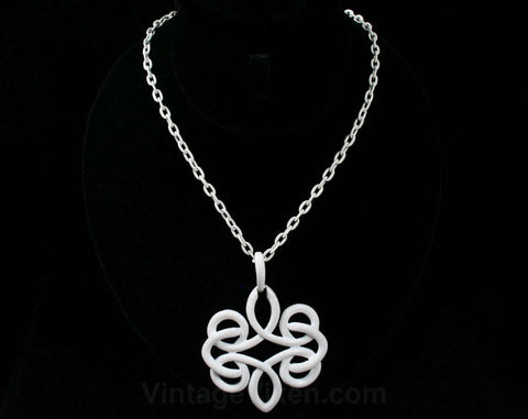 White Infinity Pendant Necklace - 1970s Bright White Enamel - 70s - Chain Link - Medallion Style - Glossy - Summer - Elegant - 42387