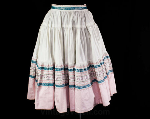 XL 1950s Patio Skirt - 50s Rockabilly Fiesta Chic - Fresh White Cotton, Pink, Teal Blue - Silver Rick Rack - Squaw Full Skirt - Waist 33.5