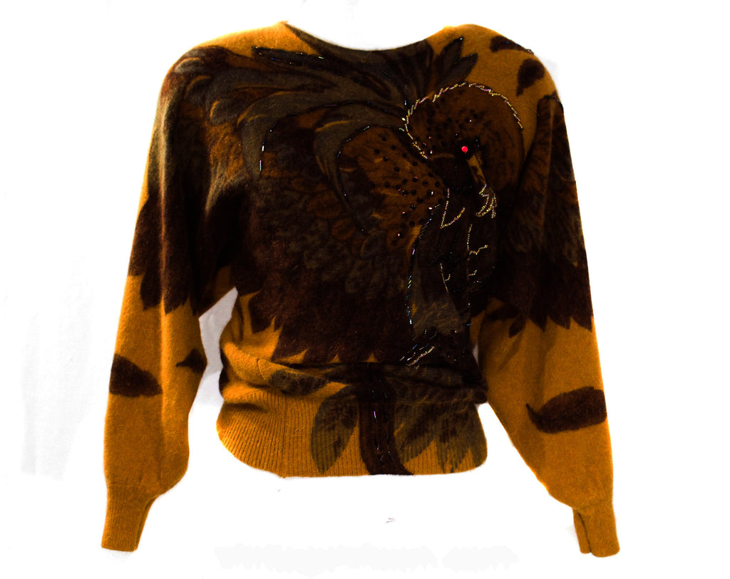 Medium Tropical Bird Sweater - Amazing 1980s Art To Wear Pullover - Caramel Brown Super Soft Angora Knit - Oversize Autumn Top - Bust to 42